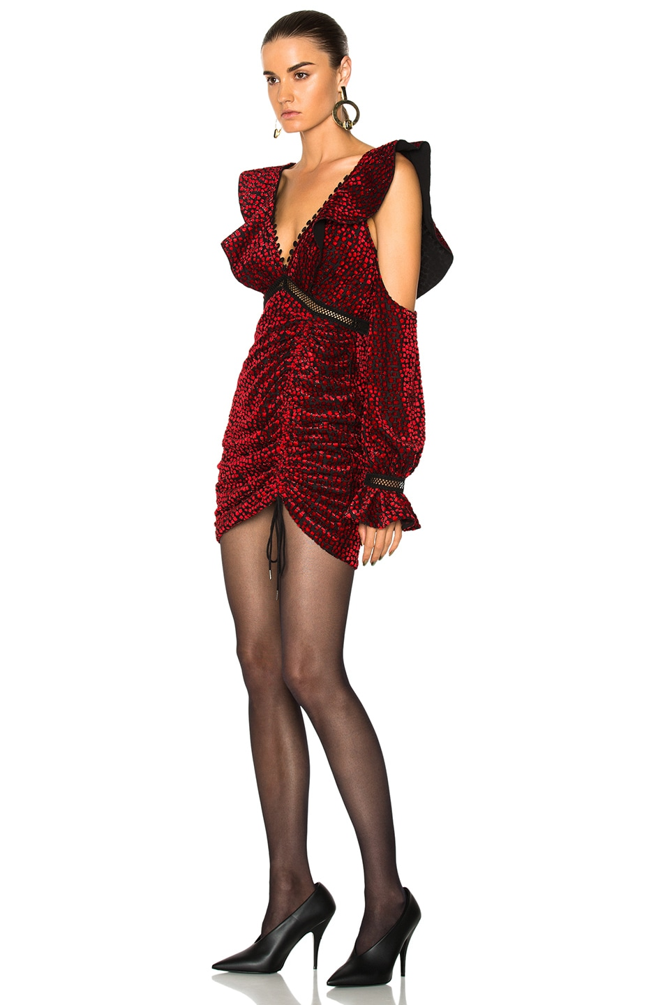 c99d9a44de5aa Image 3 of self-portrait Red V-Neck Frill Mini Dress in Red