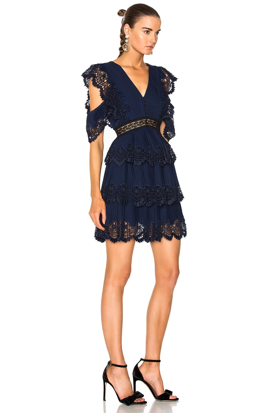 Image 2 of self-portrait Tiered Embroidered Gazar Mini Dress in Navy