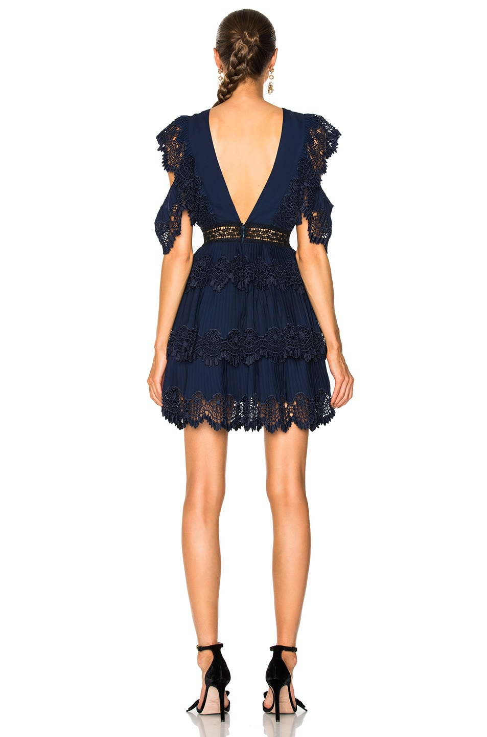 Image 3 of self-portrait Tiered Embroidered Gazar Mini Dress in Navy