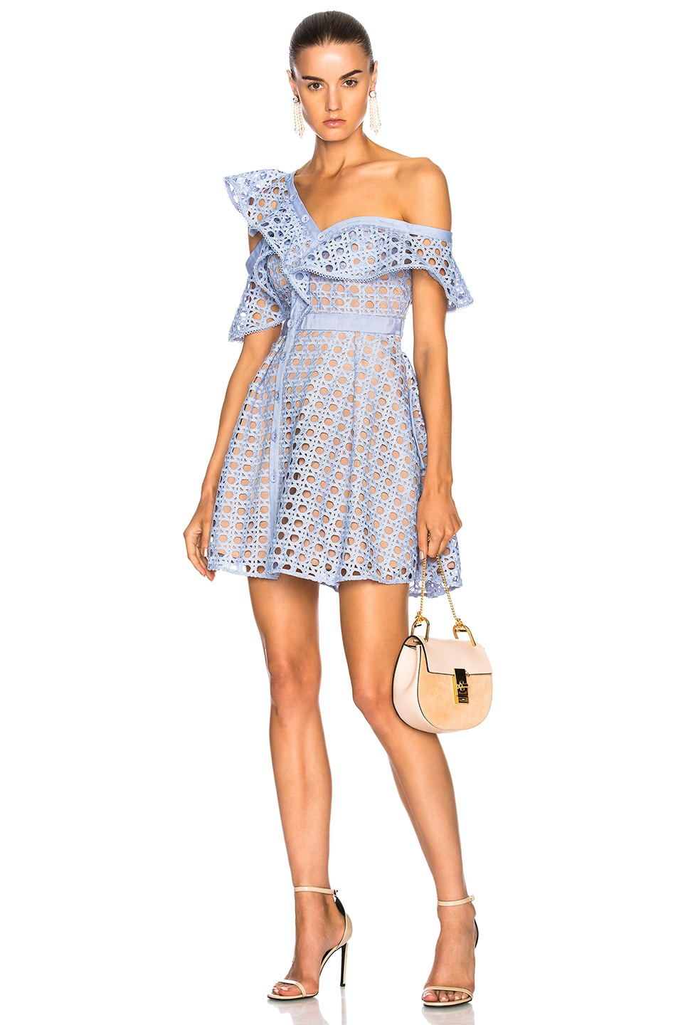 Image 1 of self-portrait Lace Frill Dress in Baby Blue