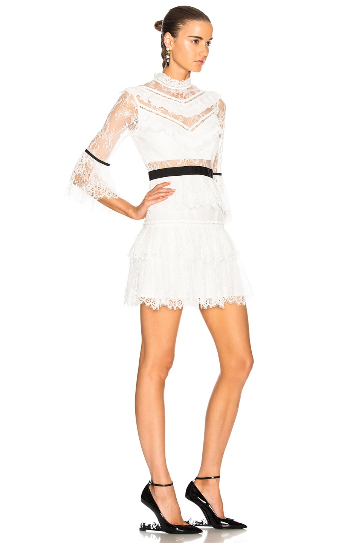 Image 2 of self-portrait Fine Lace Mini Dress in White