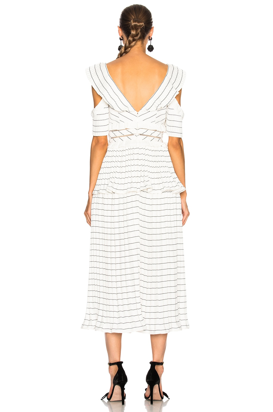 cd96f3a195fc9 Image 3 of self-portrait Monochrome Stripe Midi Dress Black & White in  Black &