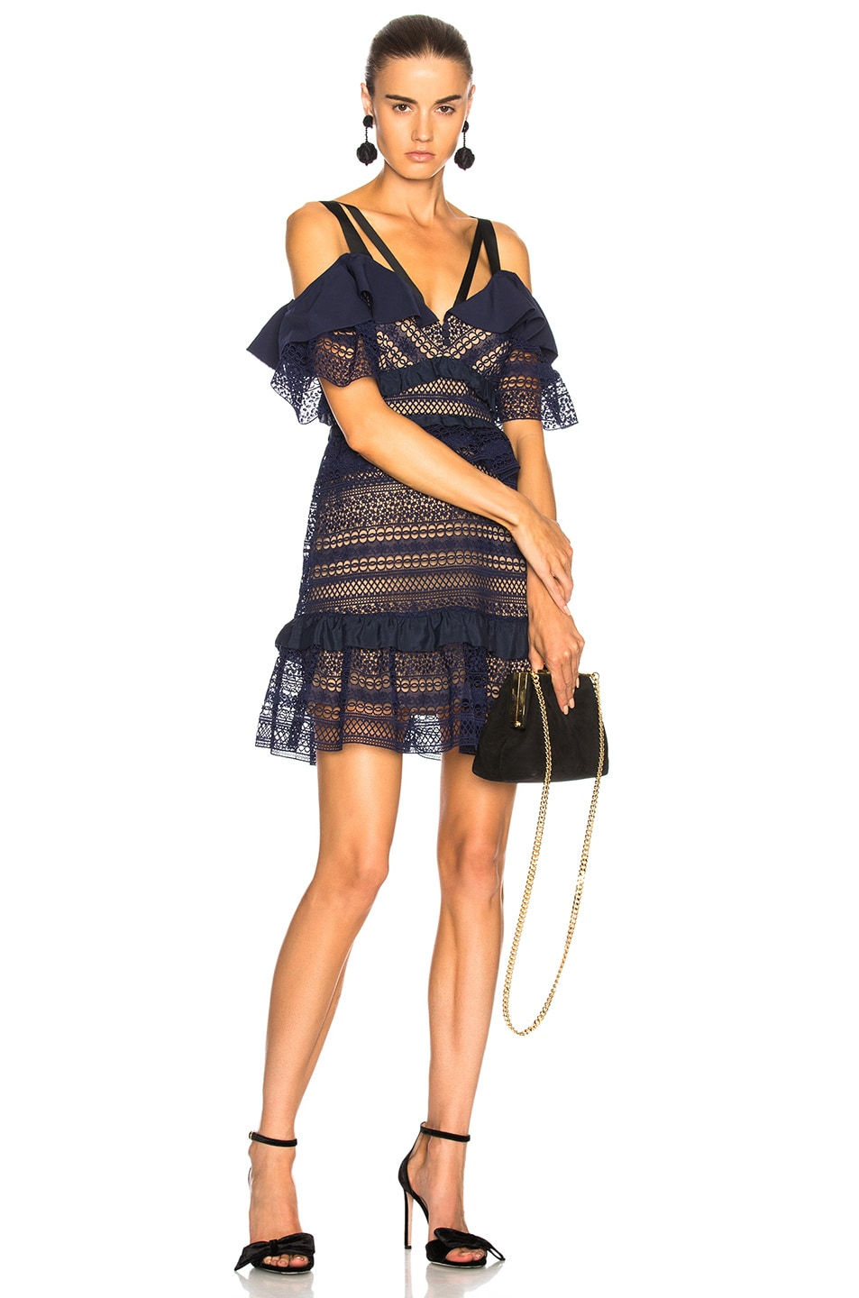 Image 1 of self-portrait Striped Paneled Lace Dress in Navy