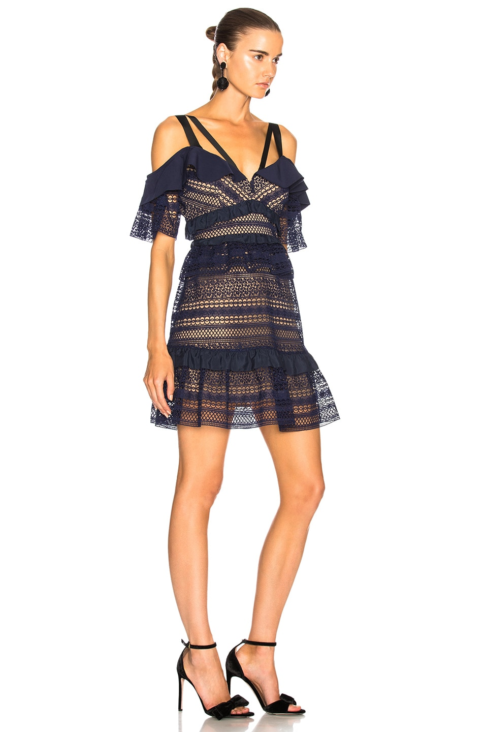 Image 2 of self-portrait Striped Paneled Lace Dress in Navy