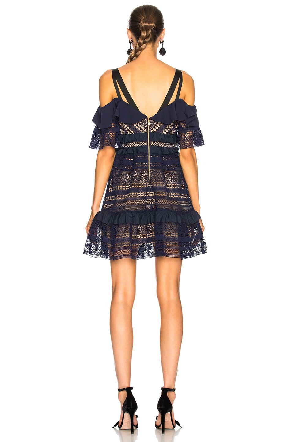 Image 3 of self-portrait Striped Paneled Lace Dress in Navy