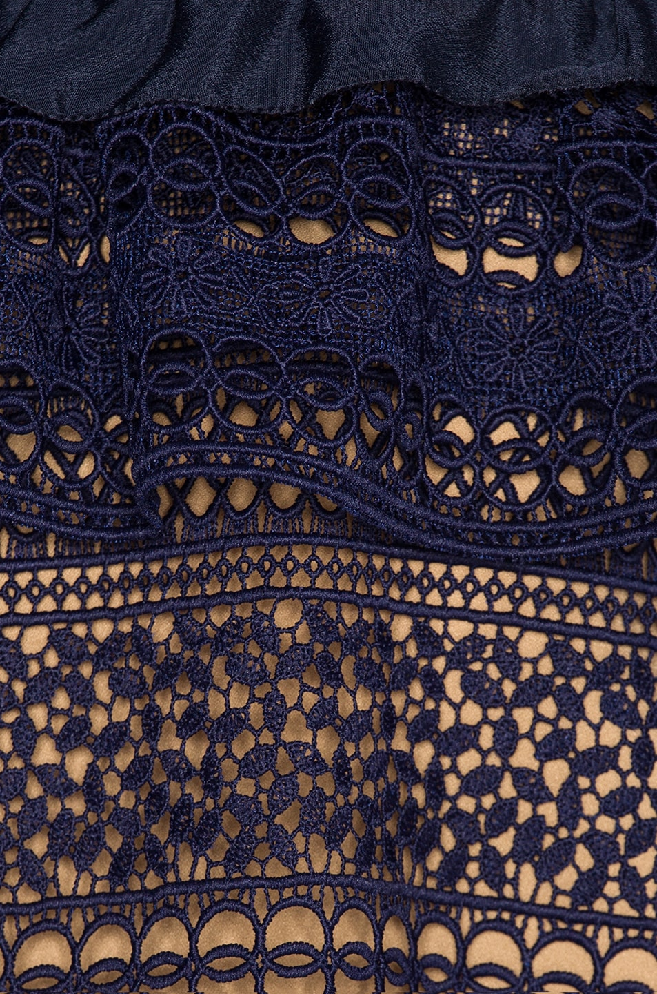 Image 4 of self-portrait Striped Paneled Lace Dress in Navy