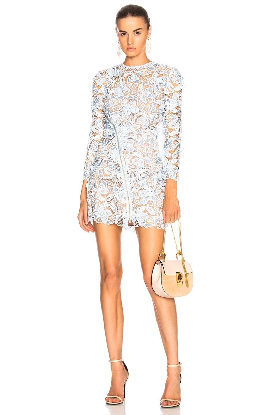 c3f287afd Image 1 of self-portrait 3D Lily Mini Dress in Blue & White