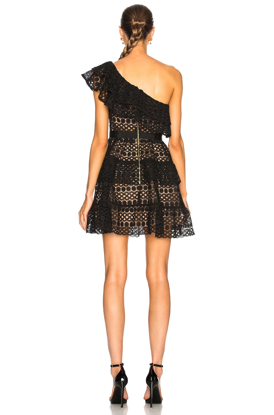 Image 4 of self-portrait Floral Chain Mini Dress in Black