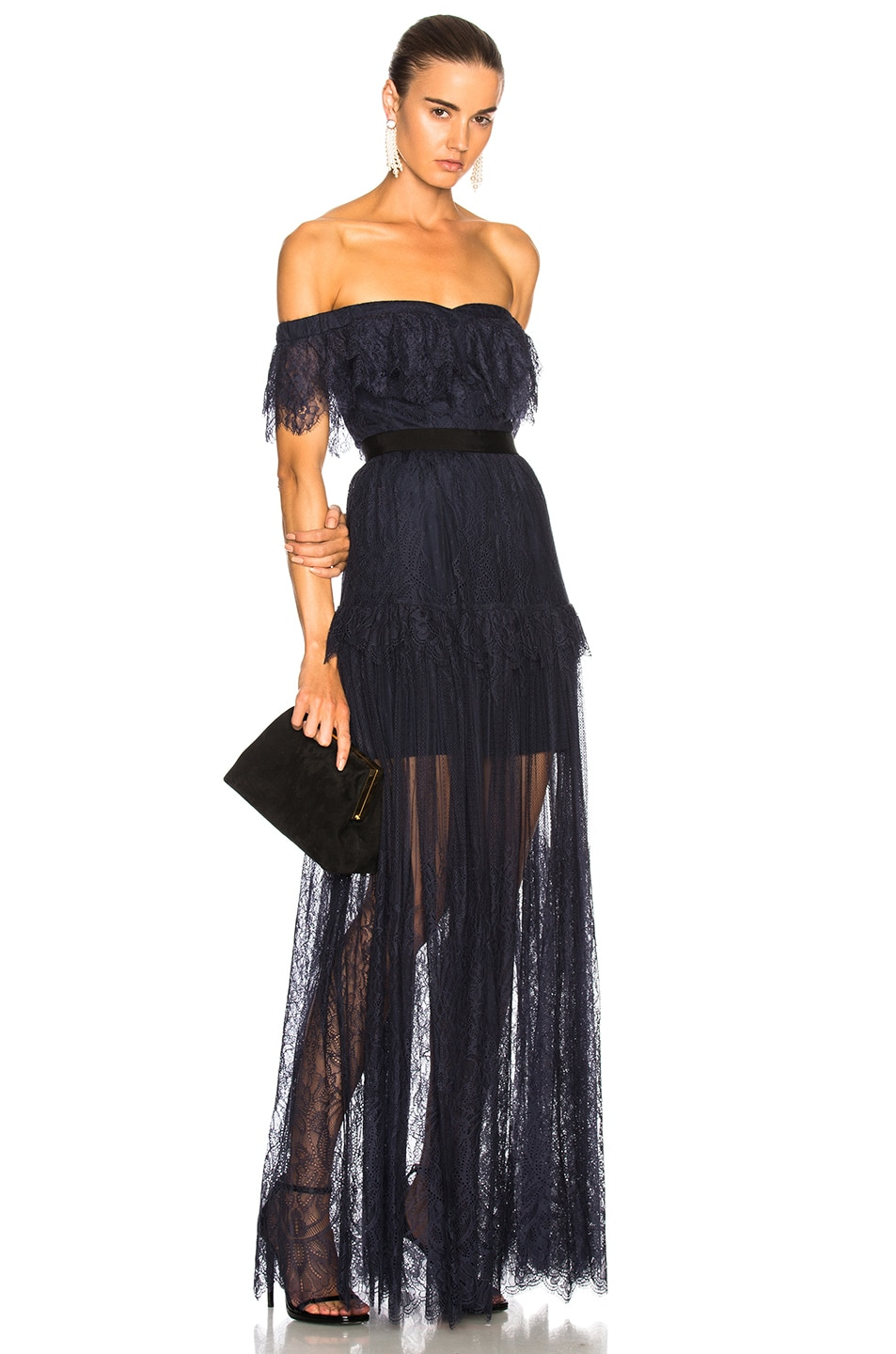 Image 1 of self-portrait Off Shoulder Fine Lace Maxi Dress in Navy