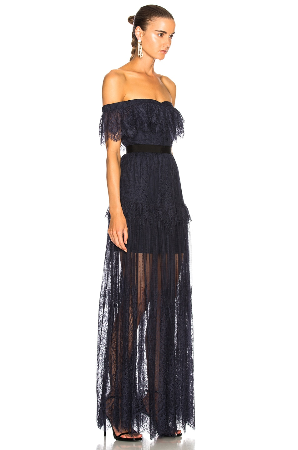 Image 2 of self-portrait Off Shoulder Fine Lace Maxi Dress in Navy