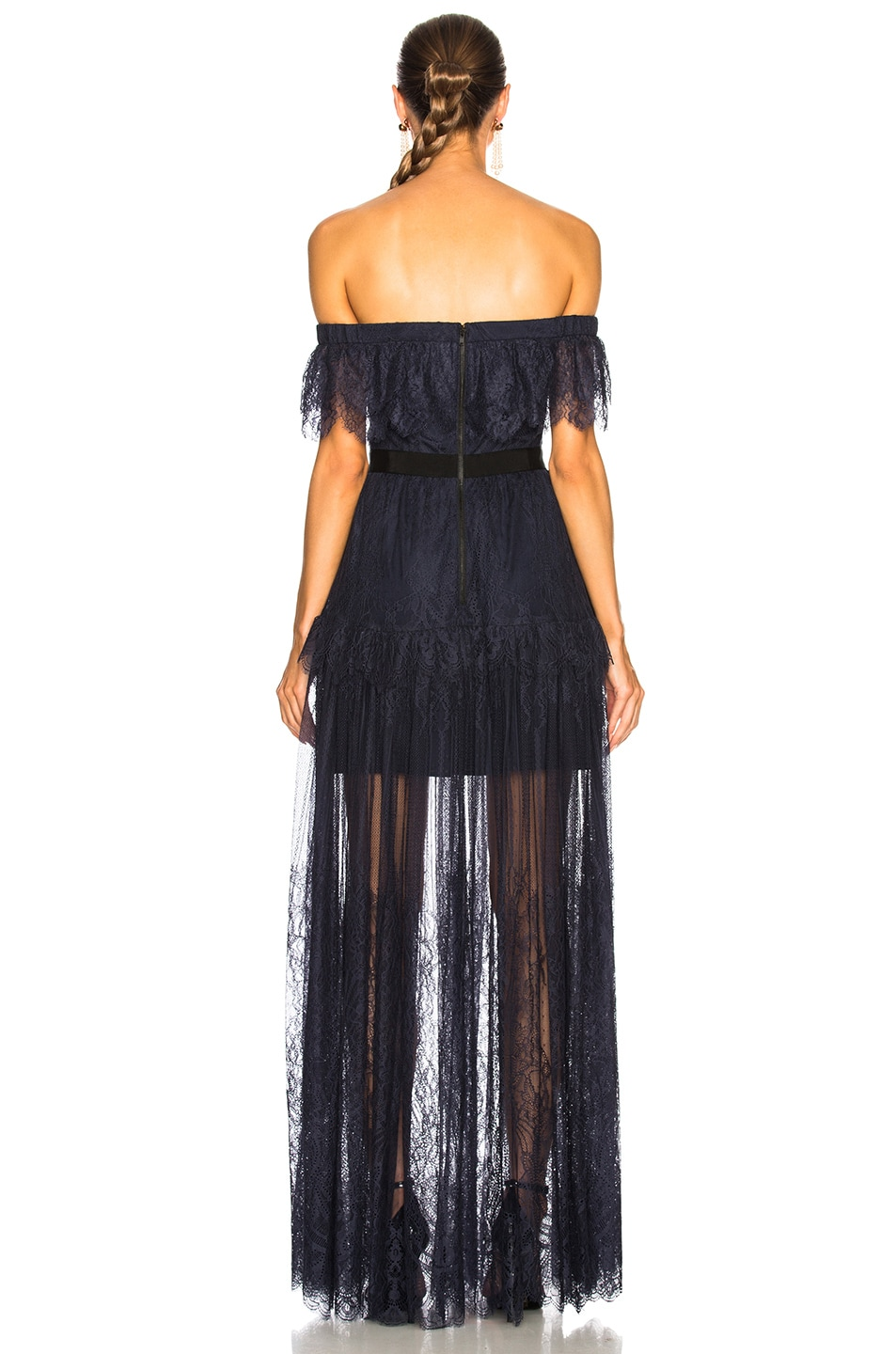 Image 3 of self-portrait Off Shoulder Fine Lace Maxi Dress in Navy