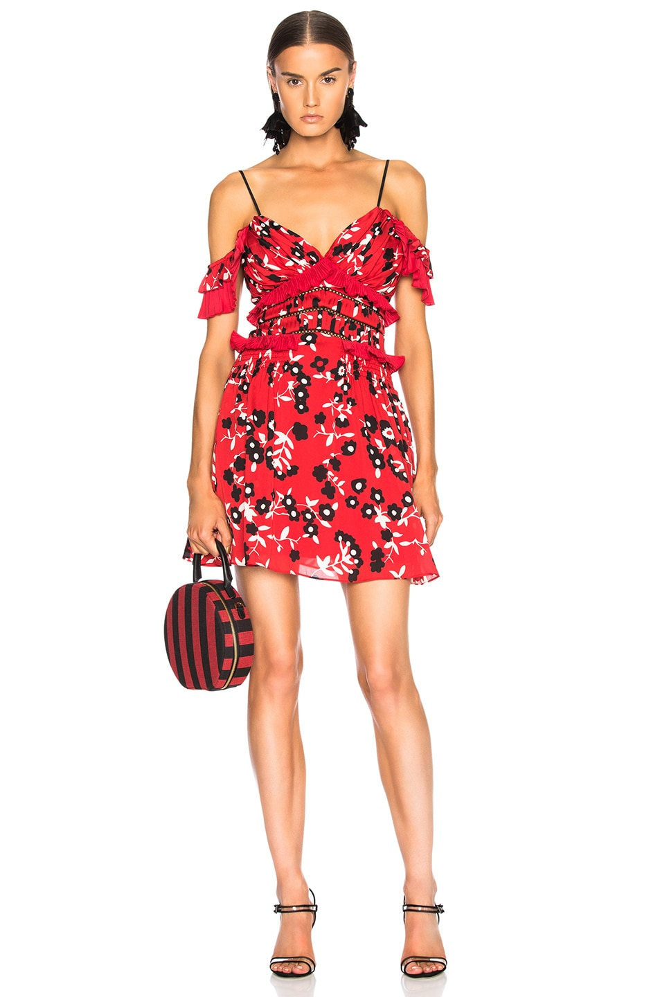 b72dd53447a2 Image 1 of self-portrait Cold Shoulder Floral Print Mini Dress in Red