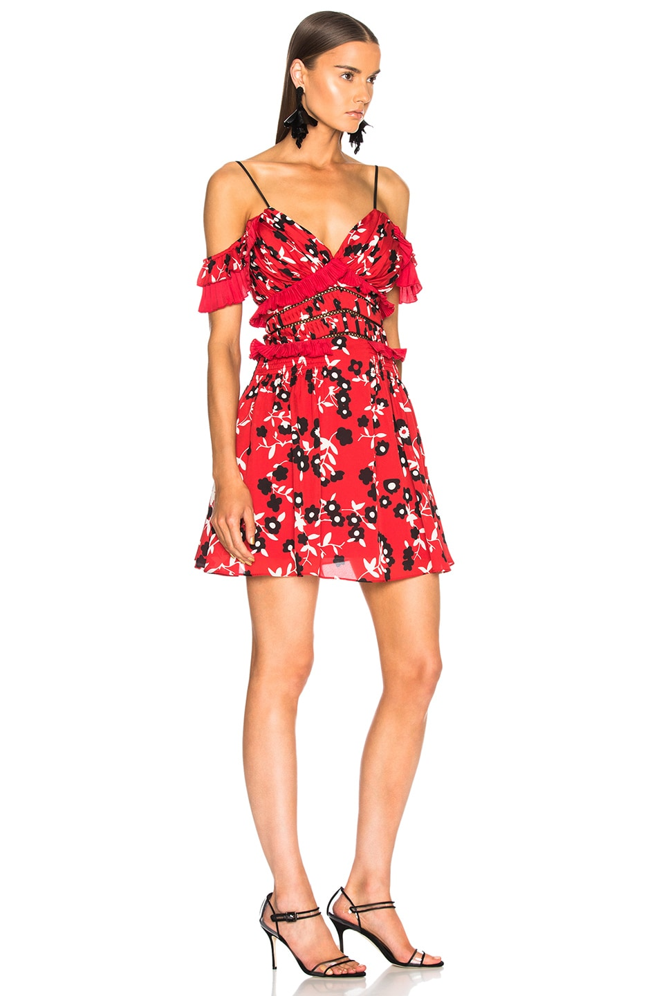 ea1362a259b2 Image 2 of self-portrait Cold Shoulder Floral Print Mini Dress in Red