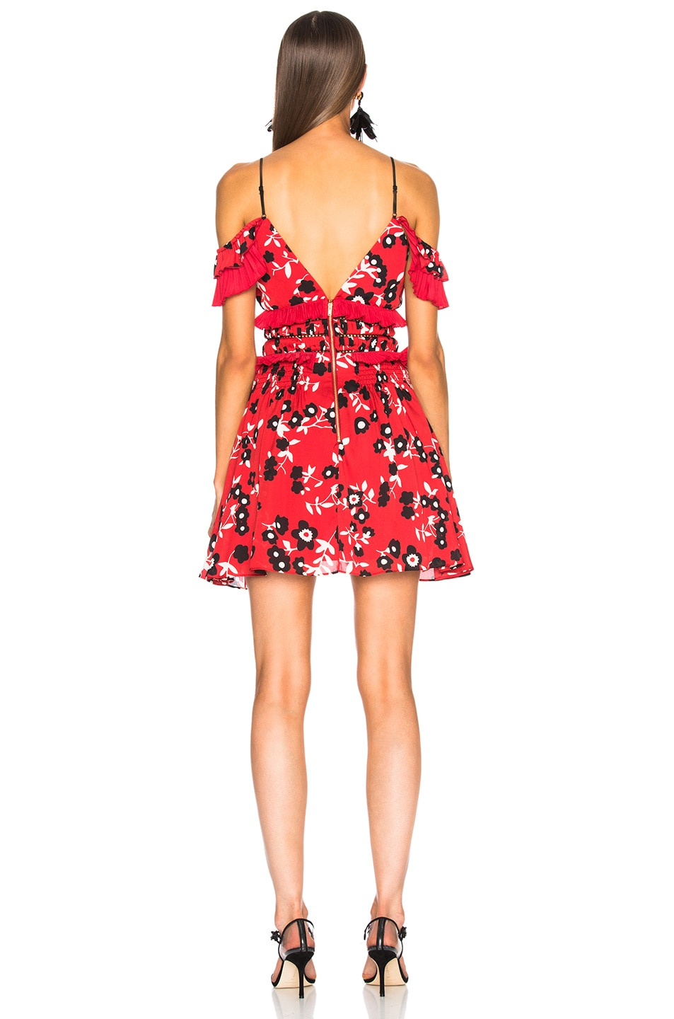 6dcb5c2cfdc0 Image 3 of self-portrait Cold Shoulder Floral Print Mini Dress in Red