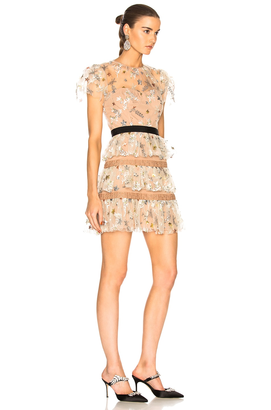 Image 2 of self-portrait Star Mesh Tiered Dress in Nude