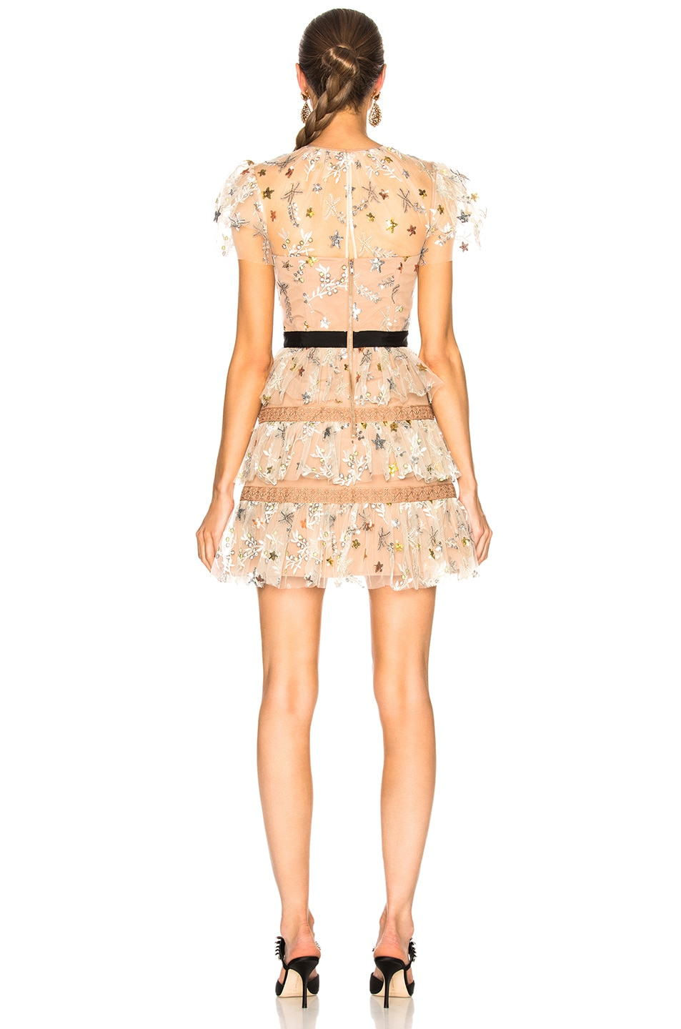 Image 3 of self-portrait Star Mesh Tiered Dress in Nude