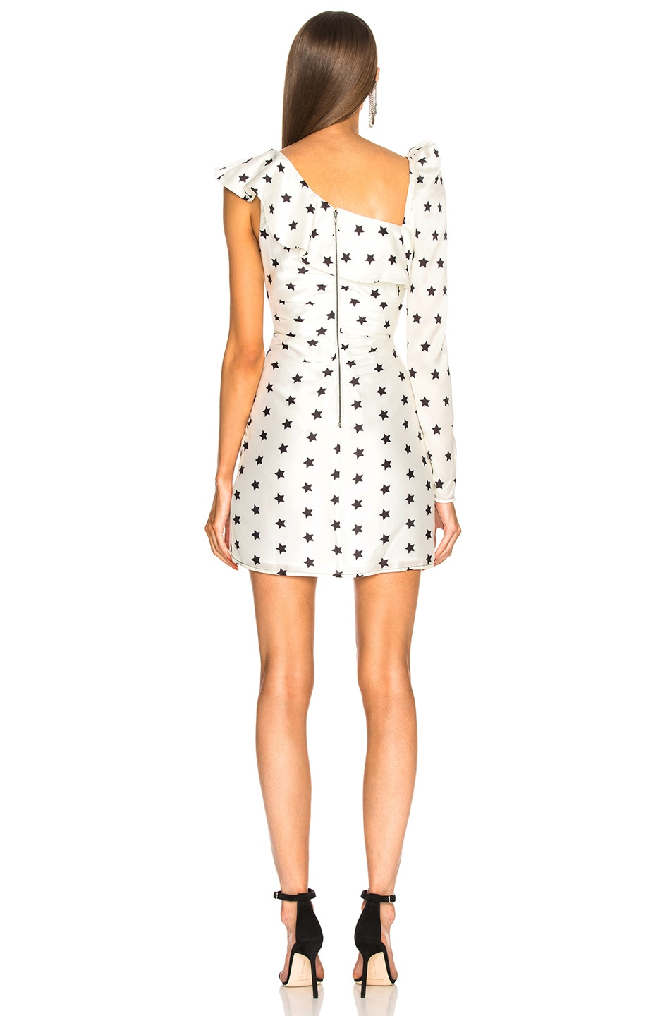 Image 4 of self-portrait Printed Star Frill Dress in Ivory