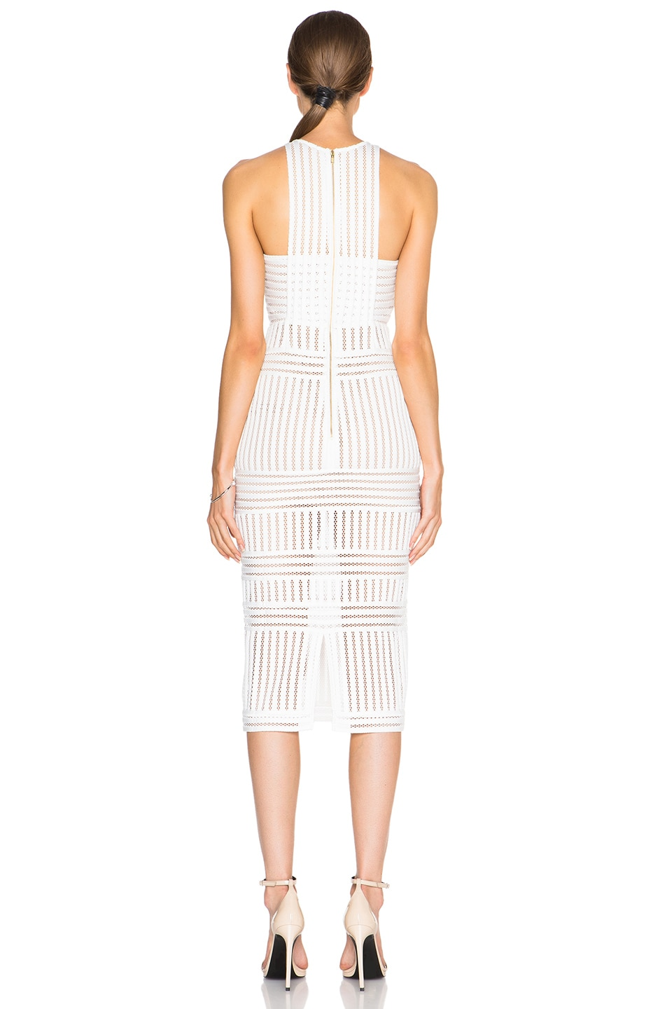 b9f6bc02f992 Image 4 of self-portrait Striped Mesh Dress in White & Nude
