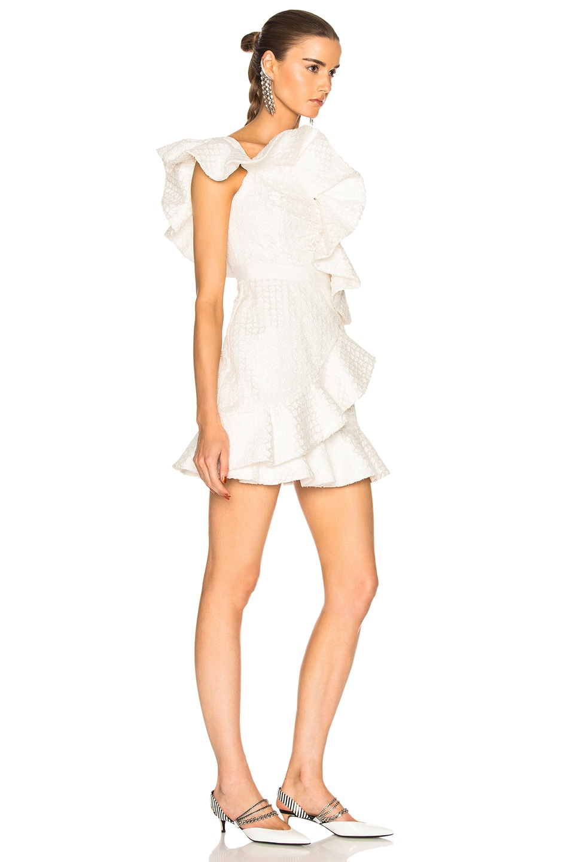 Image 2 of self-portrait Asymmetric Ruffle Dress in White