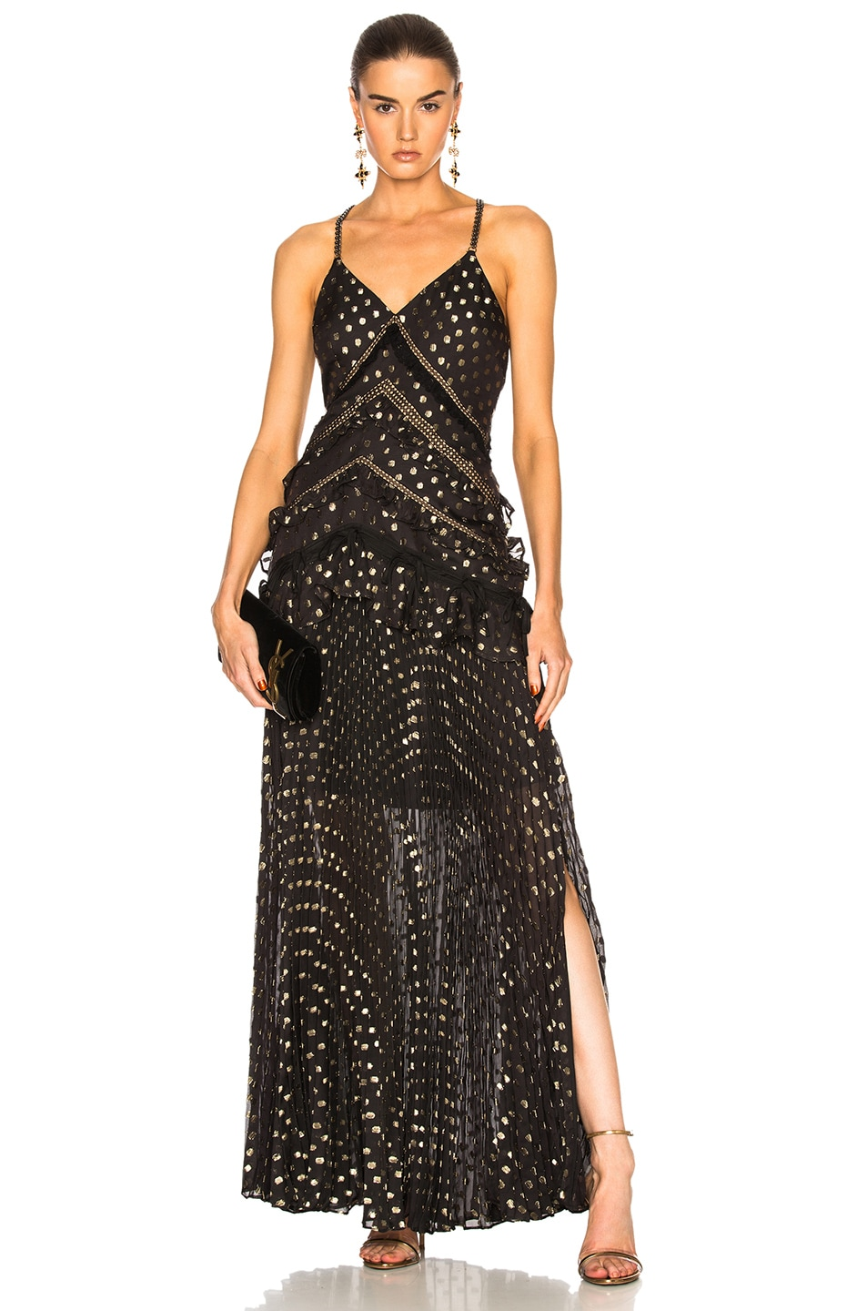 Image 1 of self-portrait Metallic Polka Dot Maxi Dress in Black