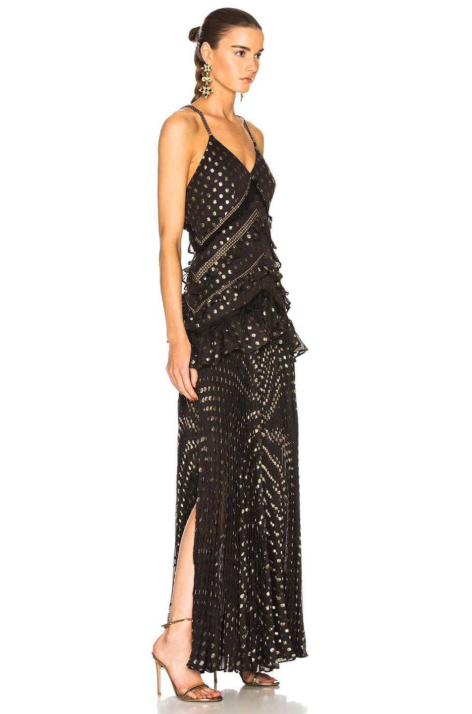 Image 2 of self-portrait Metallic Polka Dot Maxi Dress in Black