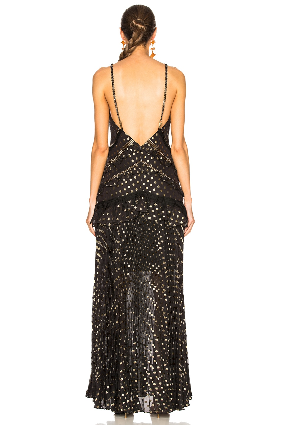 Image 4 of self-portrait Metallic Polka Dot Maxi Dress in Black