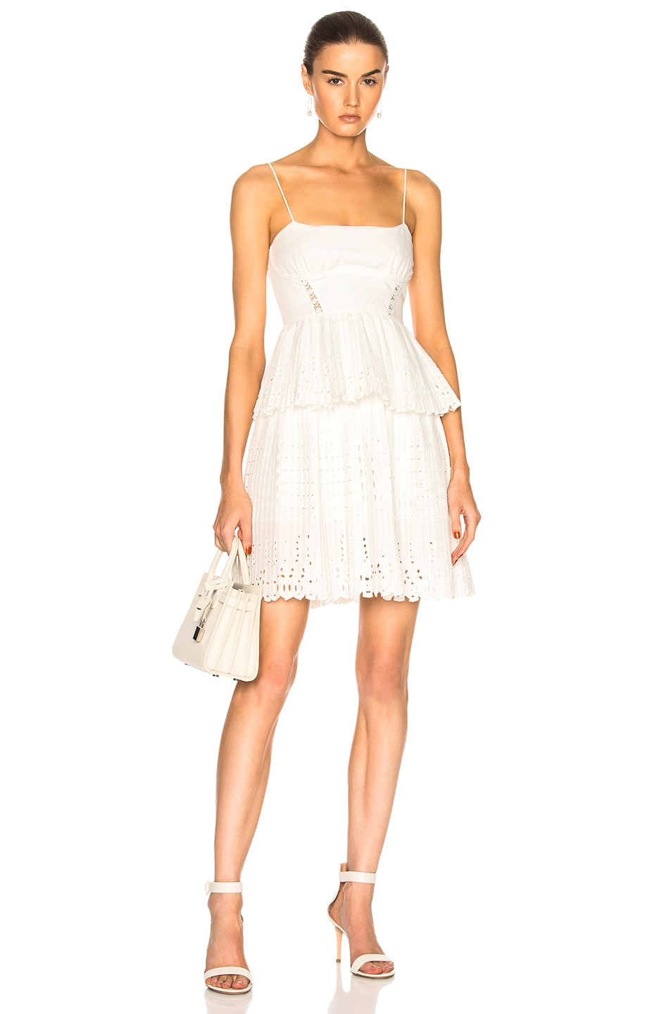 Image 1 of self-portrait Broderie Anglaise Mini Dress in White