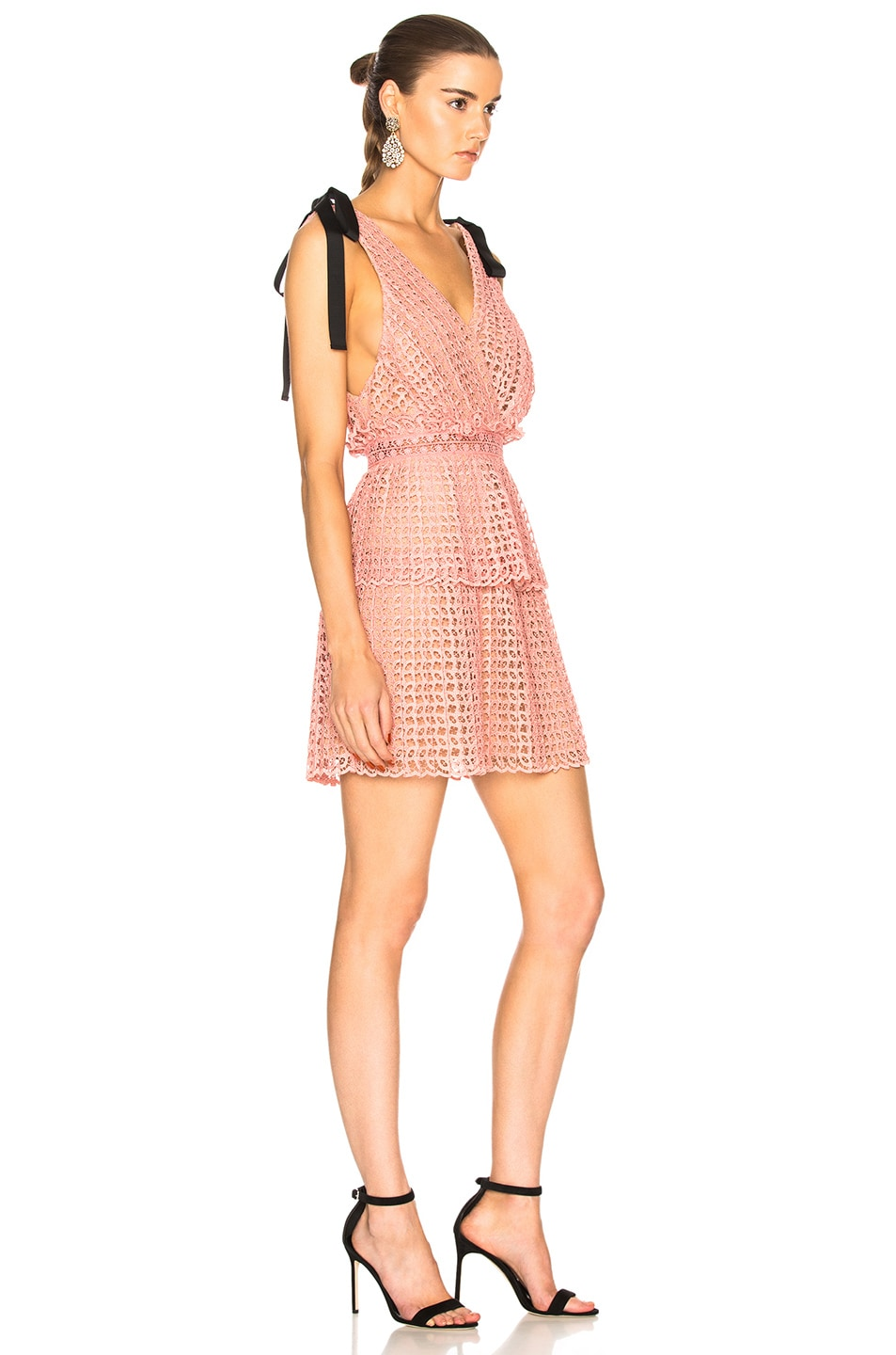 Image 2 of self-portrait Cutwork Mini Dress in Pink