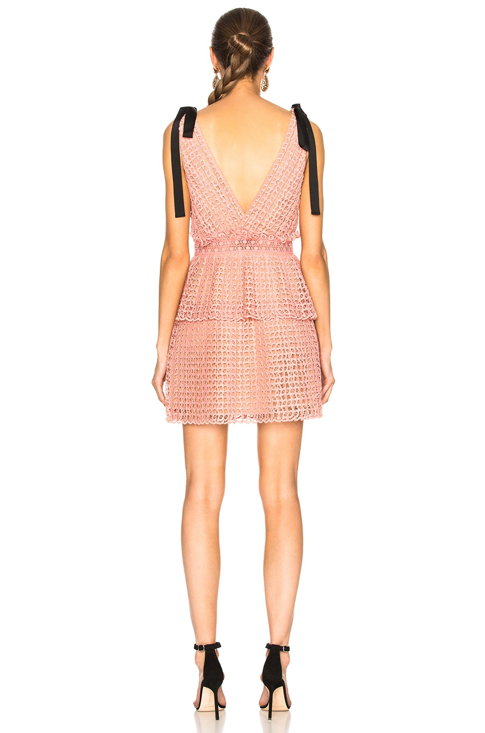 Image 3 of self-portrait Cutwork Mini Dress in Pink