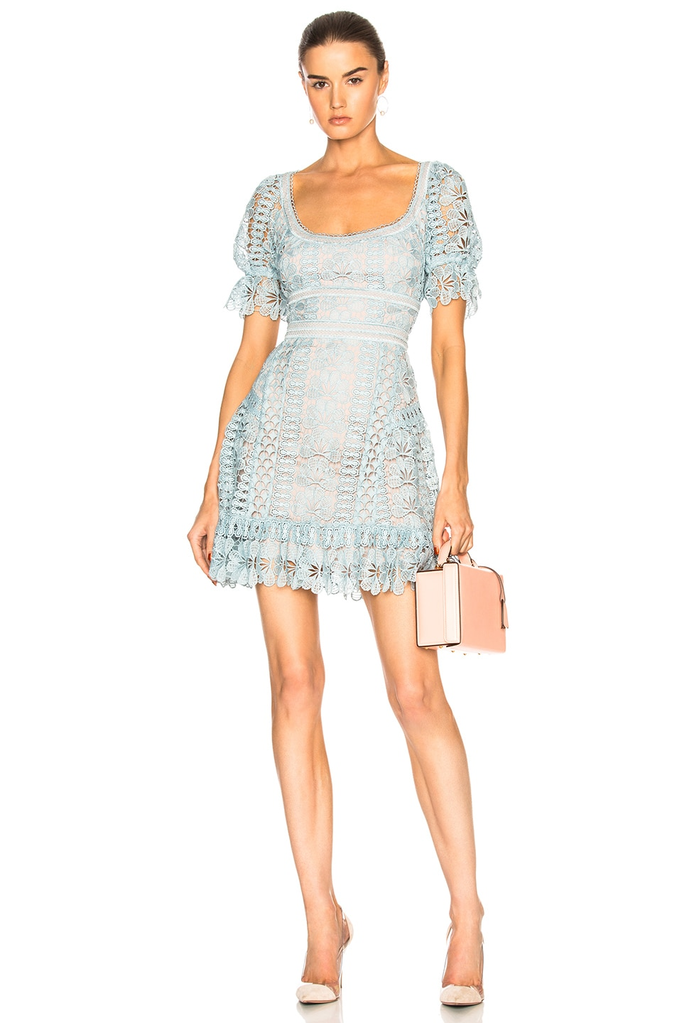 Image 1 of self-portrait Floral Guipure Mini Dress in Baby Blue