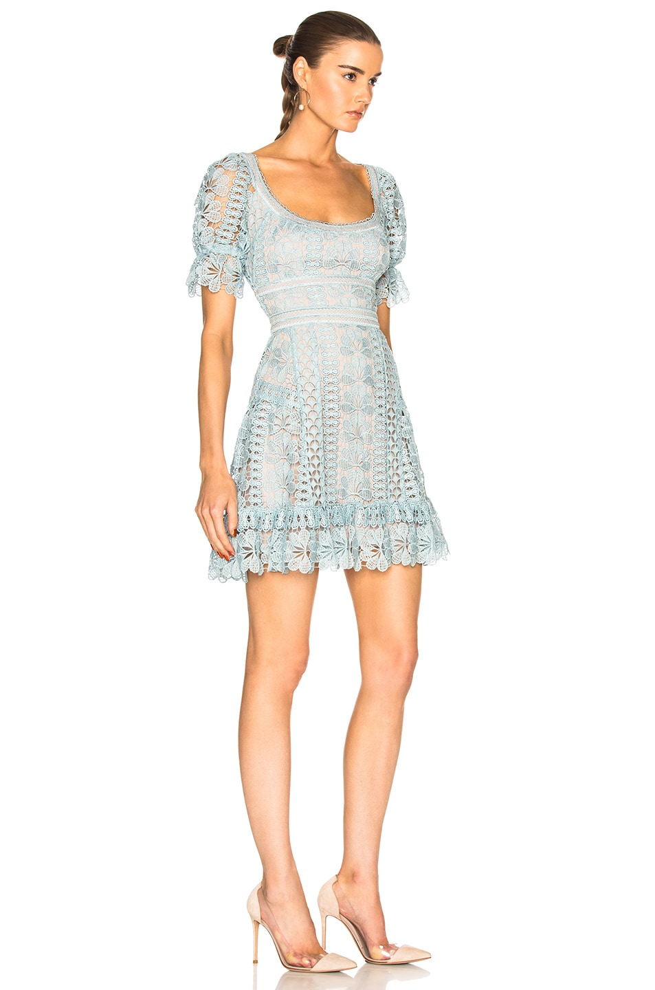 Image 2 of self-portrait Floral Guipure Mini Dress in Baby Blue