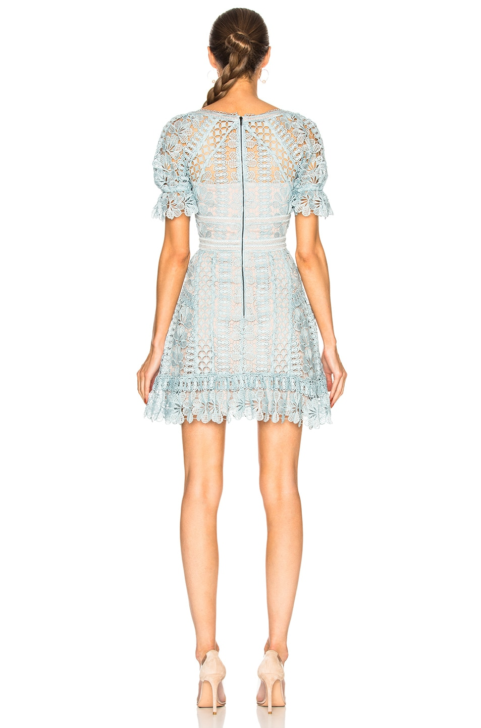 Image 3 of self-portrait Floral Guipure Mini Dress in Baby Blue