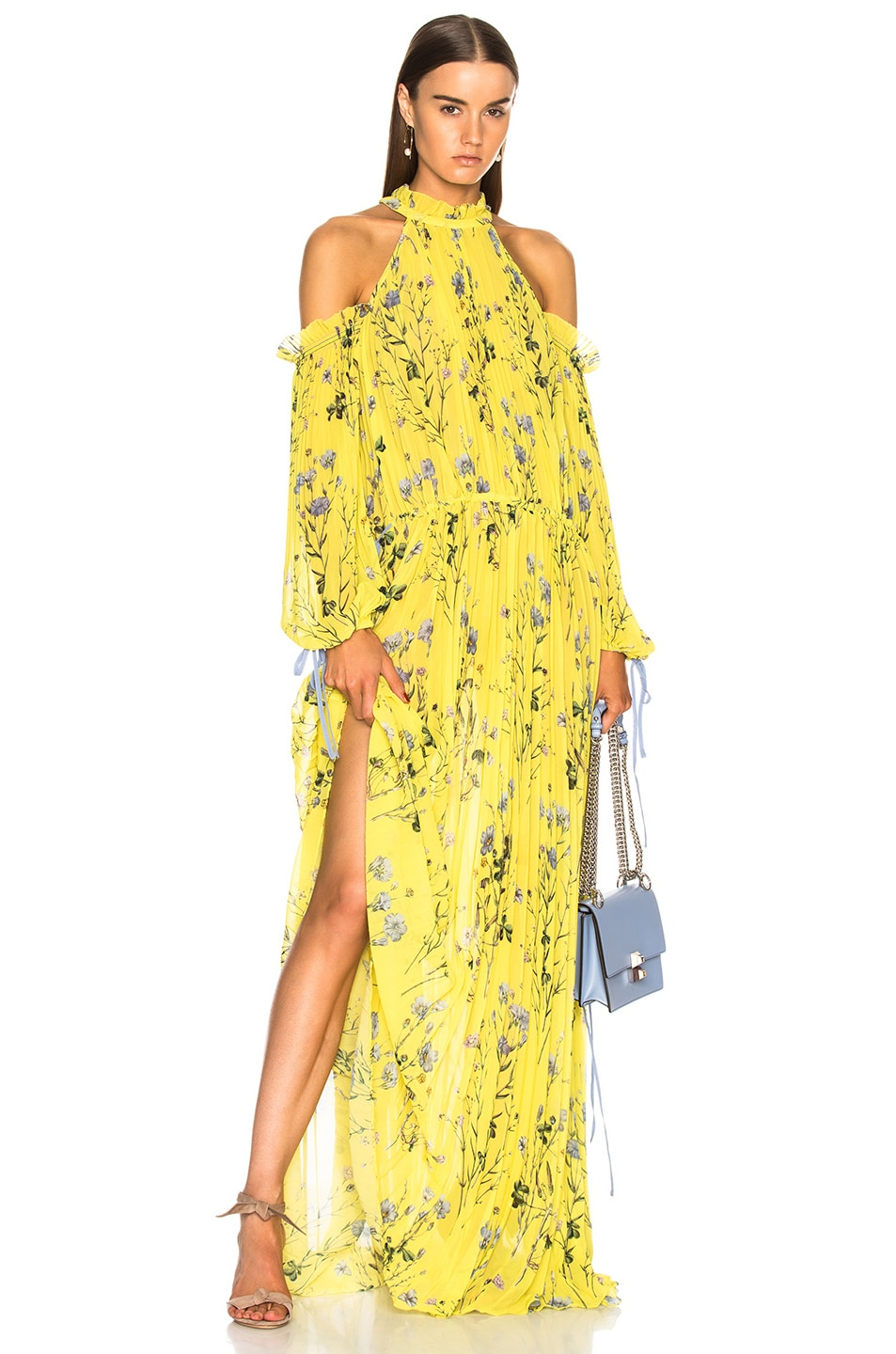 d1a51425ed37 Image 1 of self-portrait Floral Printed Cold Shoulder Dress in Yellow