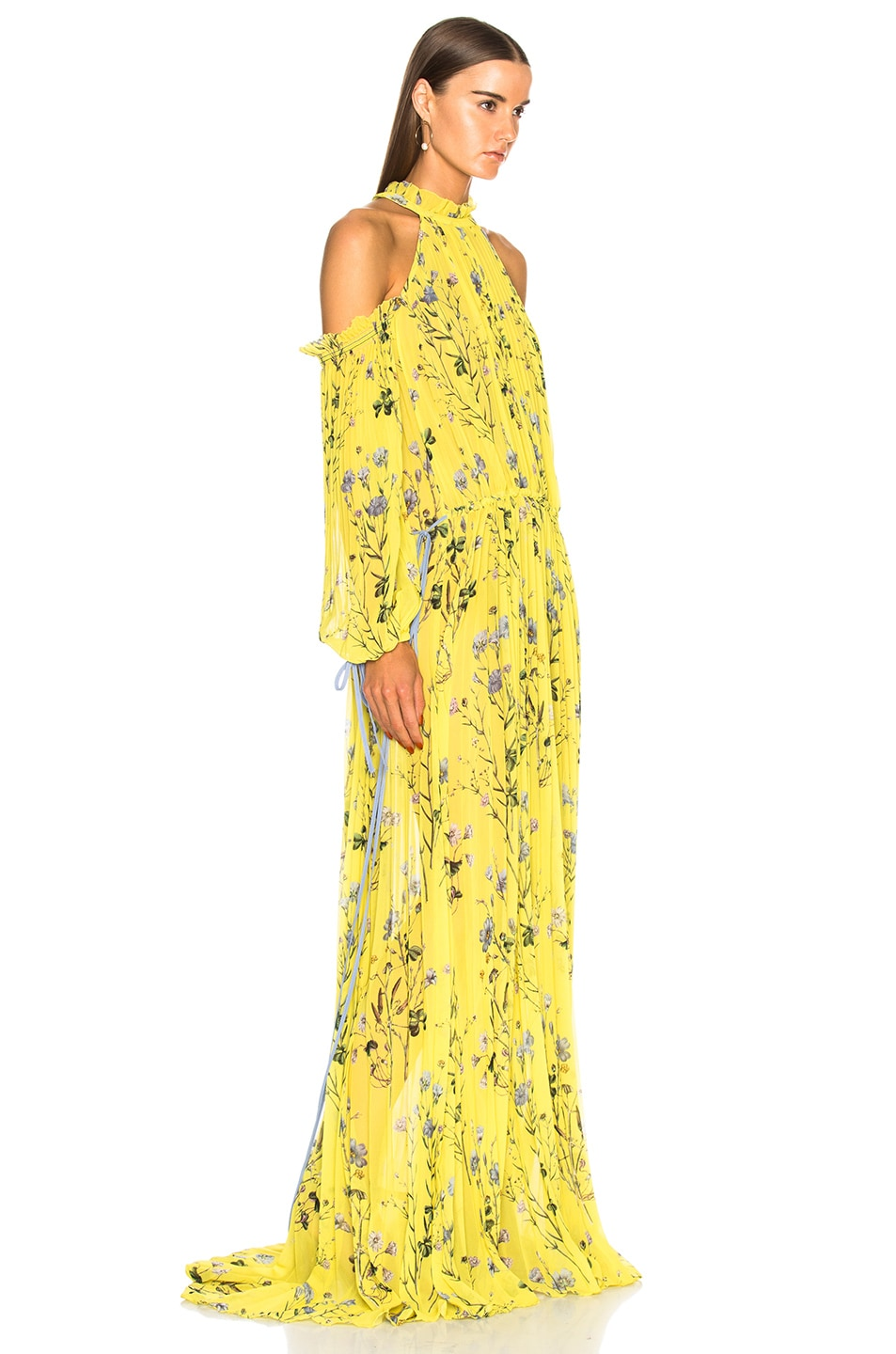7e1b6532999a Image 2 of self-portrait Floral Printed Cold Shoulder Dress in Yellow