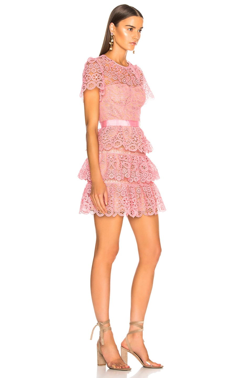 Image 2 of self-portrait Pink Tiered Lace Mini Dress in Pink