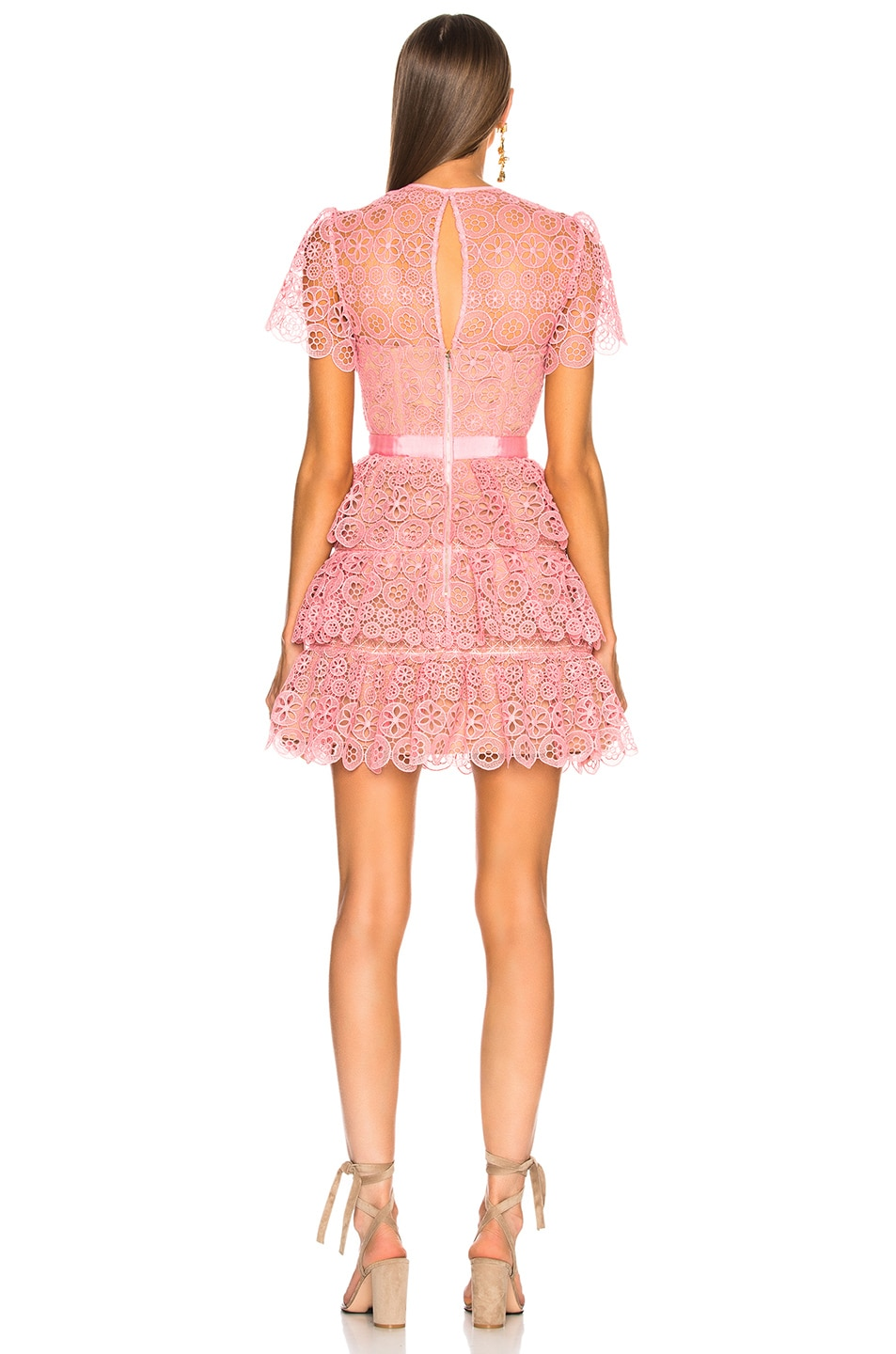 Image 3 of self-portrait Pink Tiered Lace Mini Dress in Pink