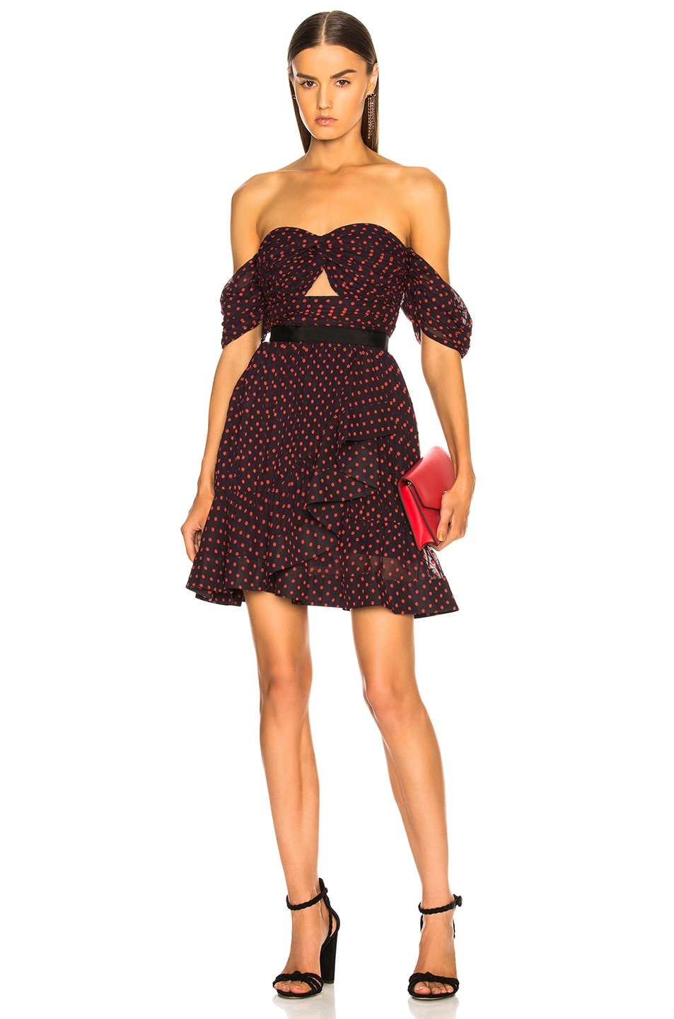 Image 1 of self-portrait Off Shoulder Plumetis Mini Dress in Navy & Red