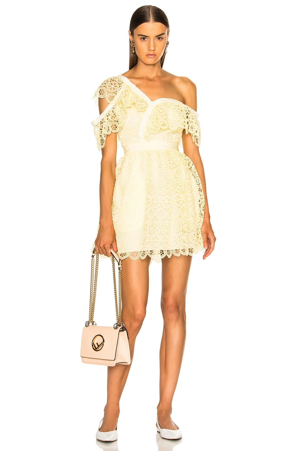 Image 1 of self-portrait Circle Floral Lace Frill Mini Dress in Yellow