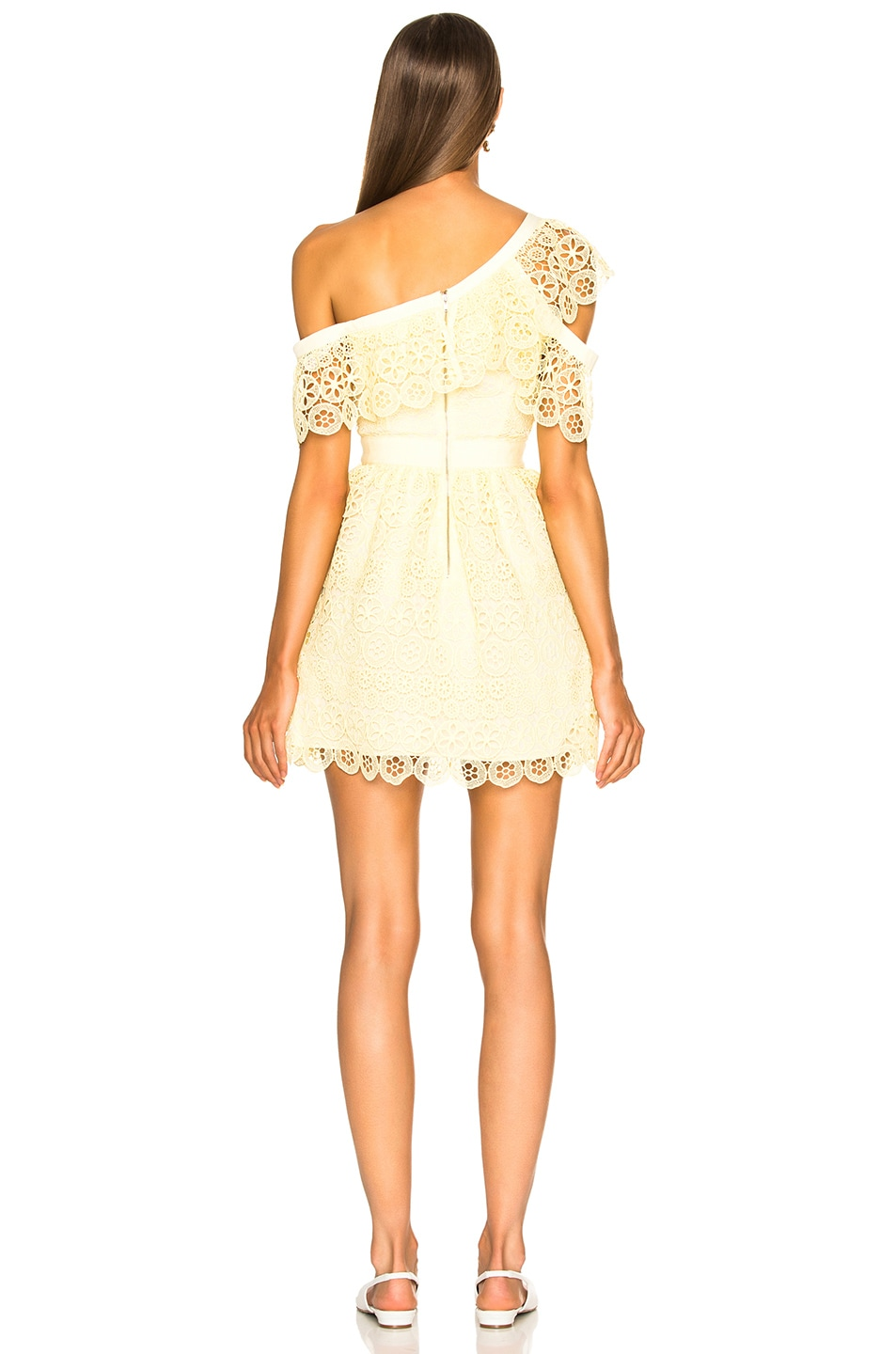 Image 4 of self-portrait Circle Floral Lace Frill Mini Dress in Yellow