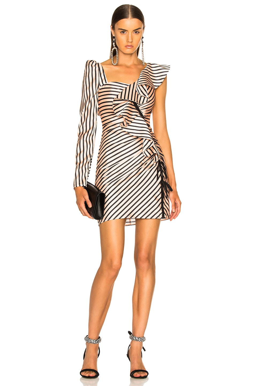 Image 1 of self-portrait Striped Flounce Mini Dress in Nude & Black