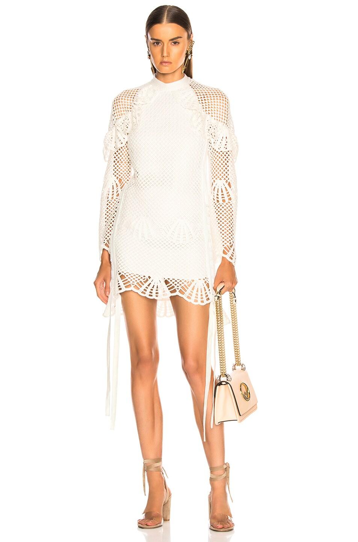 Image 1 of self-portrait Crochet Mini Dress in Ivory