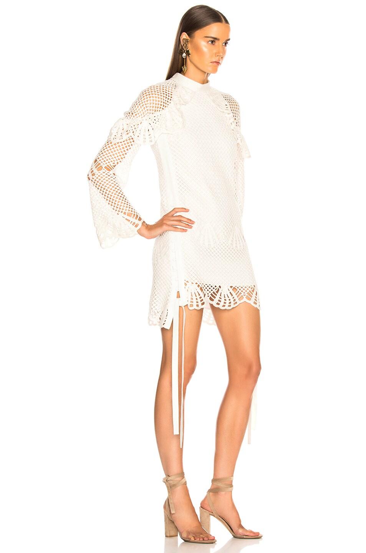 Image 2 of self-portrait Crochet Mini Dress in Ivory