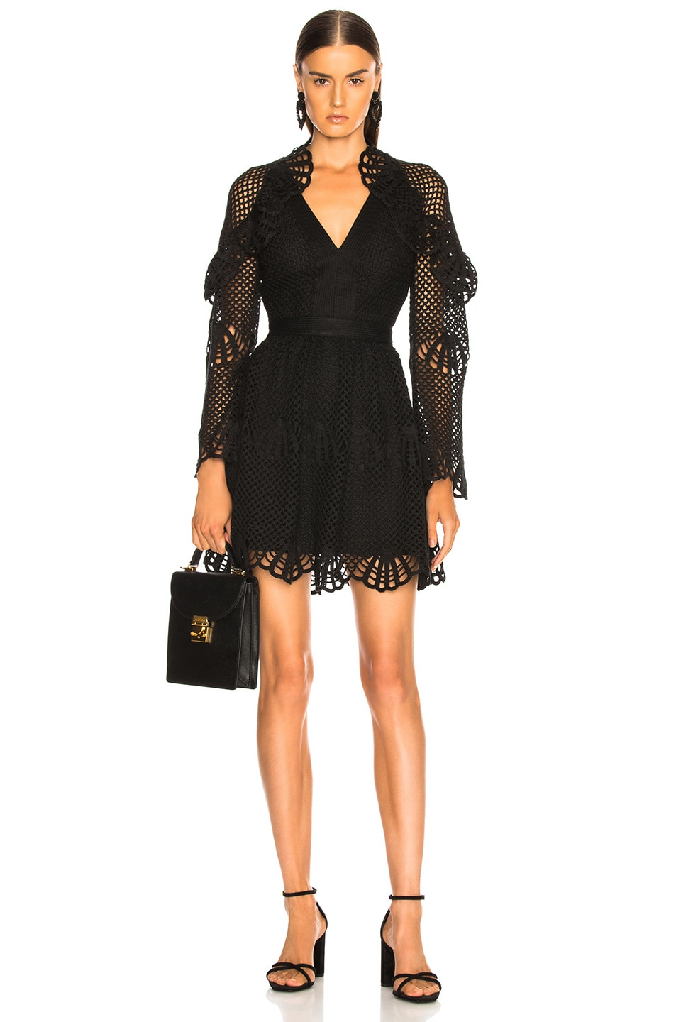 Image 1 of self-portrait V Neck Crochet Mini Dress in Black