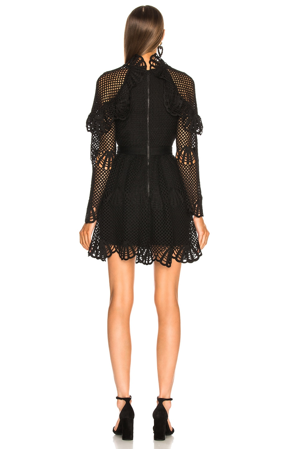 Image 3 of self-portrait V Neck Crochet Mini Dress in Black