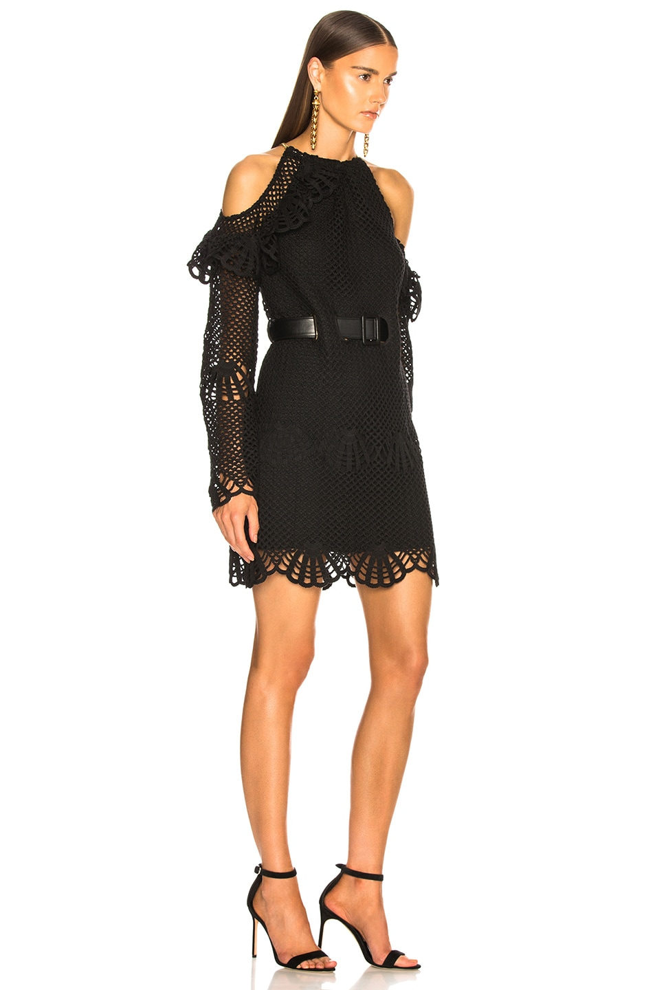 Image 2 of self-portrait Waist Detail Crochet Mini Dress in Black