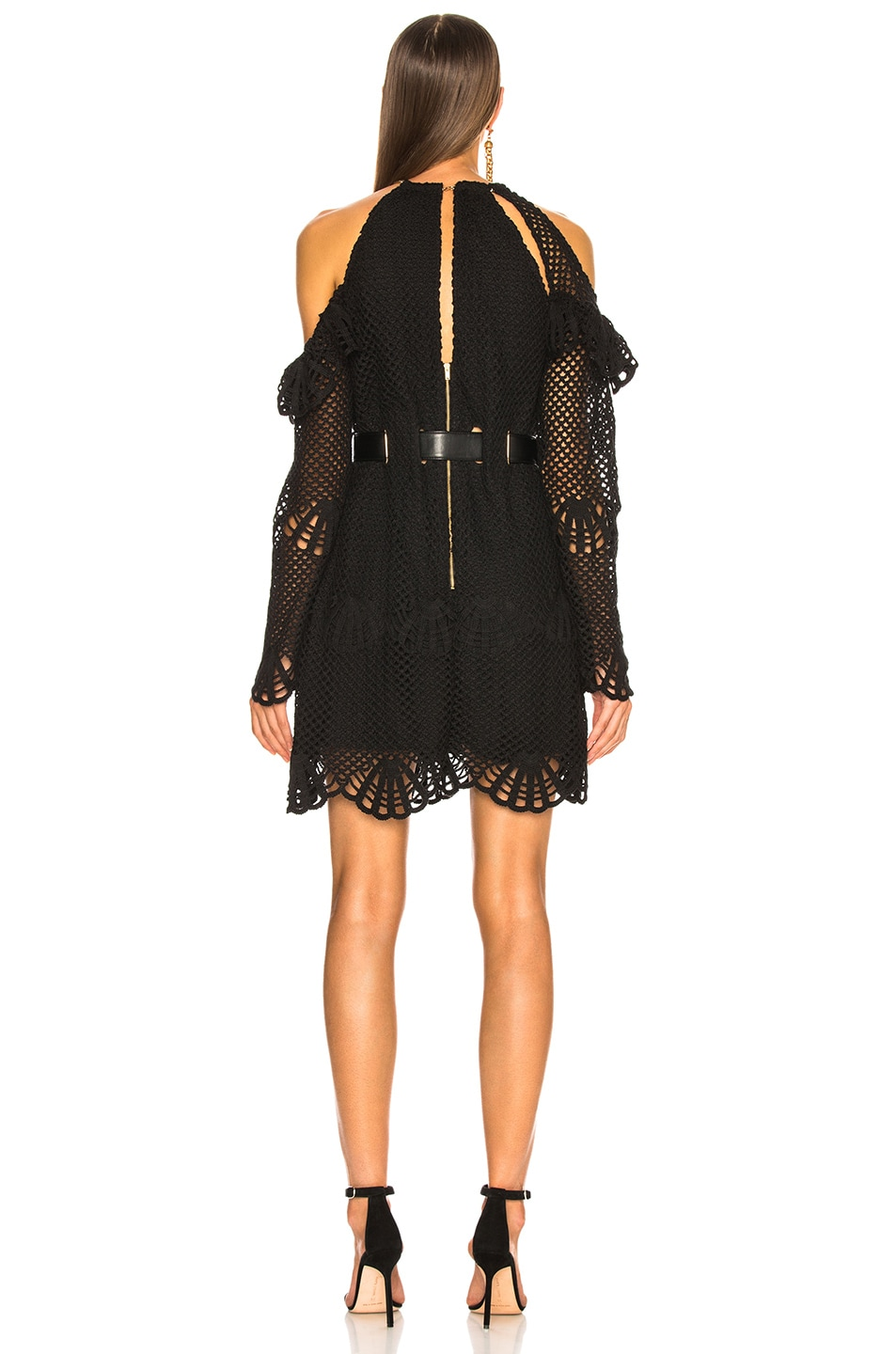 Image 4 of self-portrait Waist Detail Crochet Mini Dress in Black