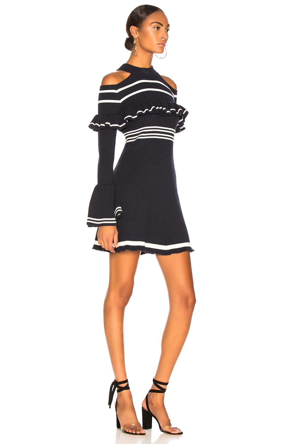 Image 2 of self-portrait Striped Frill Knit Dress in Navy & Ivory