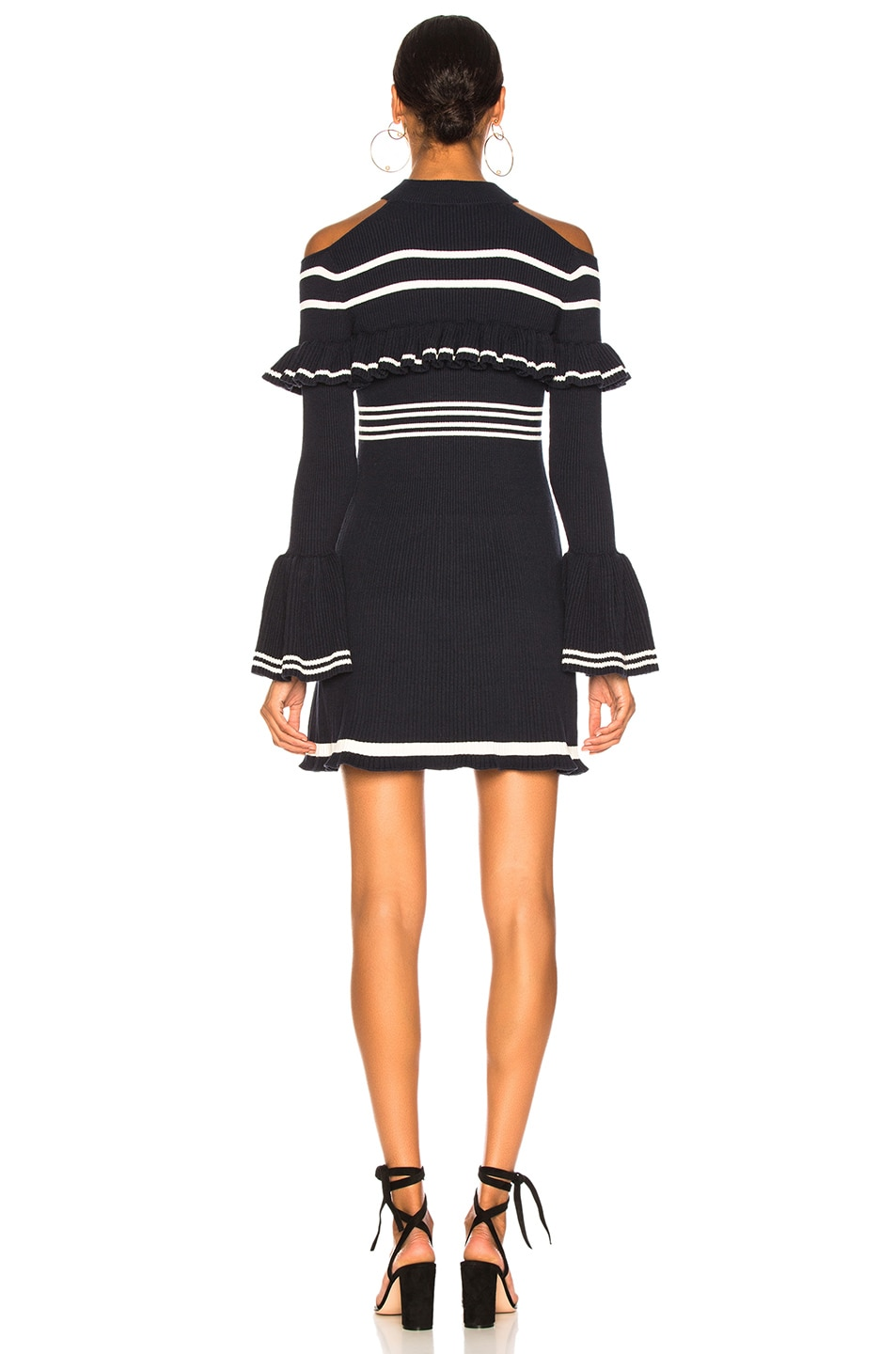 Image 3 of self-portrait Striped Frill Knit Dress in Navy & Ivory