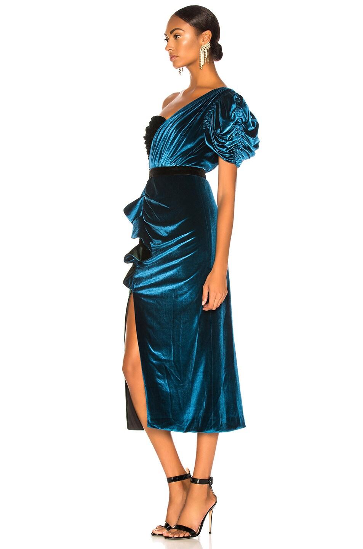 Image 3 of self-portrait One Shoulder Velvet Midi Dress in Green & Teal