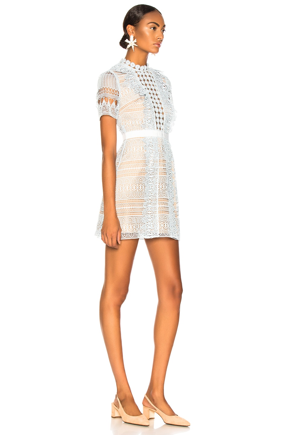 Image 2 of self-portrait Spiral Panel Lace Mini Dress in Blue